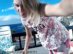 Cute Blond Teen teasing Balcony...