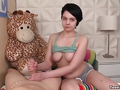 xhamster Innocent-looking teen handjob