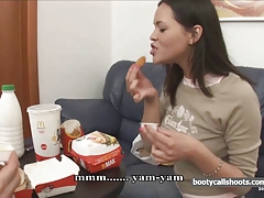 Chick gets high and takes fat dick