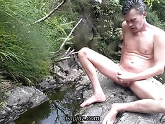 Ecosexual male dildo in nature