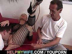 Blonde wife in fishnets fuck...