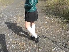 Schoolgirl in white knee socks...