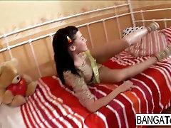 Brunette teen cutie takes it up...