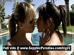 Cute blonde and brunette licking...