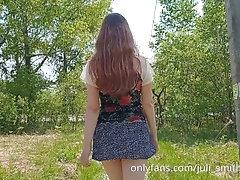 Hot teen walks without panties...
